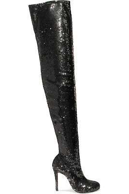 NIB Christian Louboutin Louise X 100 Black Sequin Thigh High OTK Heel Boot 37