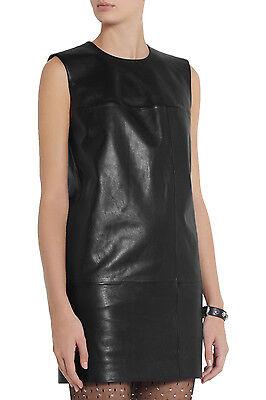Saint Laurent Mondrian Leather Shift Dress in Black Size 38
