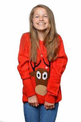 Weihnachtspulli Big Reindeer Kids Unisex NEU - Mädchen Karneval Fasching Verklei