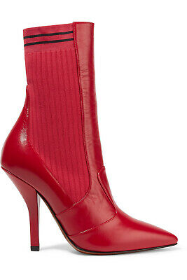 Fendi – Womens Rockoko ribbed stretch-knit and leather sock boots Size 38