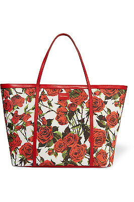 $1585 NWT DOLCE & GABBANA Printed leather-trimmed woven tote