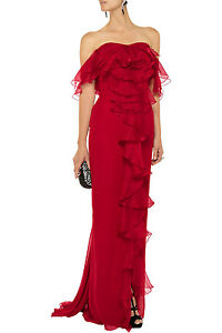 Notte by Marchesa Ruffle Silk Chiffon Gown with Front Slit Size 10