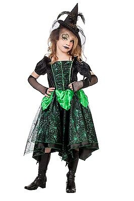 Grüne Spinnenhexe Kinderkostüm NEU - Mädchen Karneval Fasching - Grüne Hexen Kostüm