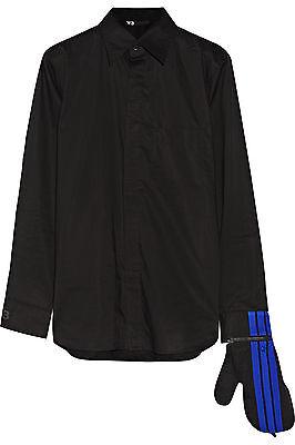 Long Sleeve Black Gloves (Y-3 YOHJI YAMAMOTO LONG SLEEVE BLACK BUTTON DOWN SHIRT w/ GLOVE Sz.)