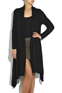 NWT DKNY DONNA KARAN BLACK COZY CASHMERE LONG CARDIGAN WRAP SWEATER M/L