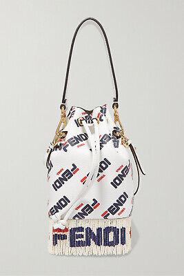 FENDI Logo-printed fringed leather shoulder bag, Brand new, Ori$2290!!!