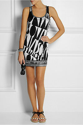 Missoni Black & White Printed Stretch-Jersey Tank Mini Dress 44 IT, 8 U.S NWOT