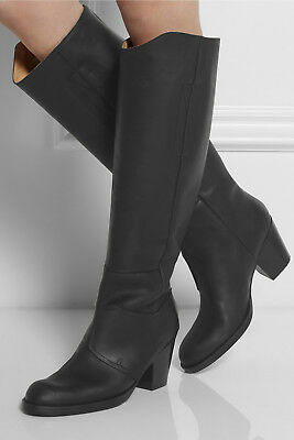 ACNE SHOES PISTOL TALL LEATHER KNEE HIGH BOOTS BLACK 38 $670 PULL ON