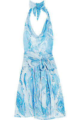 TARA MATTHEWS Silk Georgette Wrap Halter Dress - Vacation, Beach