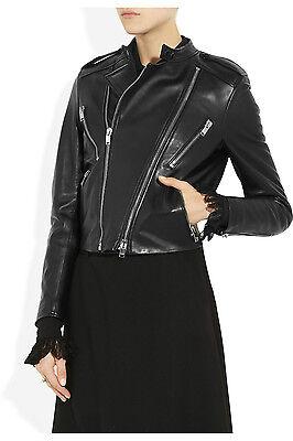 SAINT LAURENT Black Leather Biker Motorcycle Racer Jacket Size 44 (MSRP: $5,645)