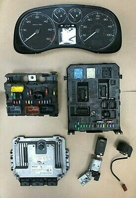 PEUGEOT 307 1.6 HDI COMPLETE ECU KIT / SET + IGNITION LOCK 0281011863 9660105680