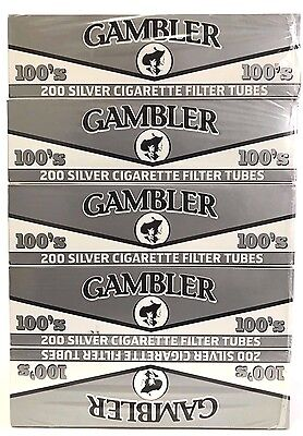 Gambler Silver Ultra Light 100MM 100s RYO Cigarette Tubes - 5 Boxes (1000 Tubes)