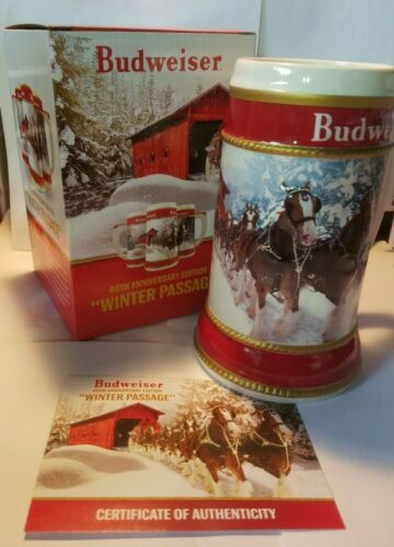 2019 Budweiser 40th Anniversary Edition Winter Passage Holiday Stein