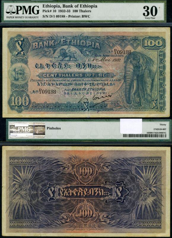 FR. 10 100 Thalers 1932-33 Ethiopia Pinholes PMG VF30