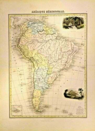 Beautiful Large Color Map of South America in 1880 Including Galapagos Islands