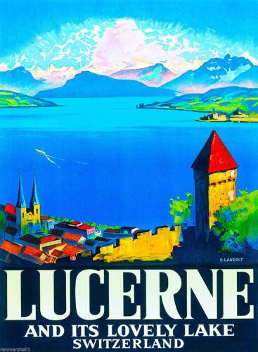 Lucerne Switzerland Europe European Vintage Travel Advertisement Art Print