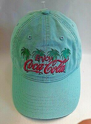 Retro Enjoy COCA-COLA BallCap Hat Snapback Unisex Turquoise Pink Logo Palm Trees