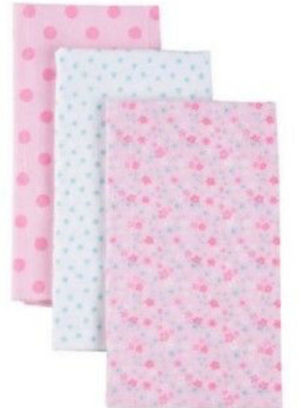 NWT GERBER BABY GIRL/'S 3-Pack Flannel Burp Cloths Pink Flowers