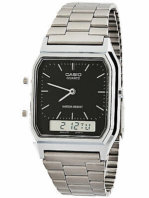 NEW Casio AQ230A-1D Mens Stainless Steel Analog Digital Watch Dual Time Alarm
