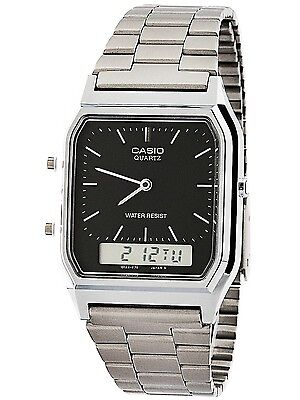 Casio Aq230a 1D Mens Stainless Steel Analog Digital Watch Dual Time Alarm New