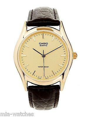 Casual Gold Dress (Casio MTP1094Q-9A Mens Brown Genuine Leather Casual Dress Watch Gold)