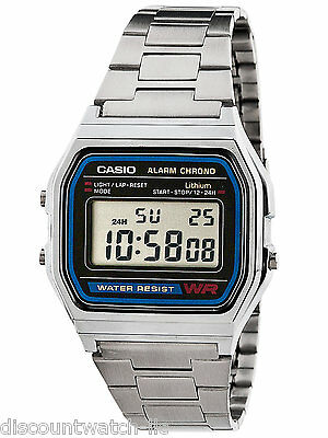 Casio A158W-1 Men's Vintage Digital Watch - Metal Band, A158WA-1