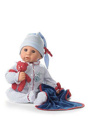 Götz Puppe Cookie 48cm Augen braun Baby Babypuppe 6teiliges Set Geschenk 1161034