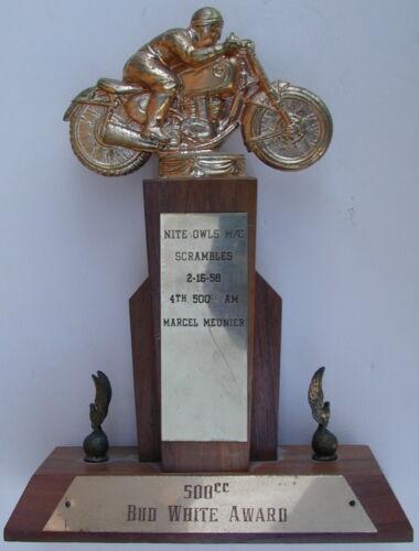 Old Original Motorcycle Racing Trophy Nite Owls Marcel Meunier 1958 Very Rare