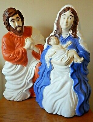 UNION BLOW MOLD CHRISTMAS LIGHTED NATIVITY SET MARY W/BABY & JOSEPH *NEW IN BOX*