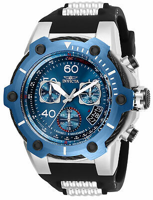 Invicta Bolt Chronograph Blue Dial Silver Tone Black Silicone Men Watch 25871 SD