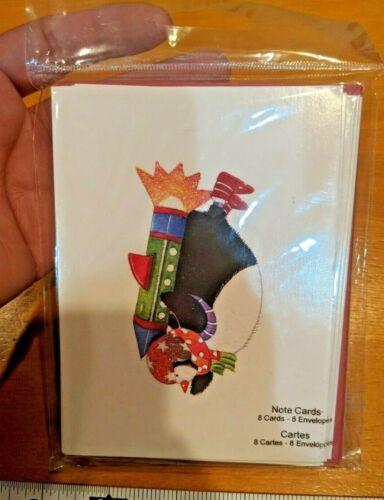 NEW Studio 18 ROCKET FLYING PENGUIN 8 Blank Note Cards & Envelopes Whimsical
