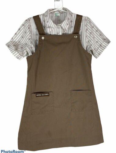 Vtg Brownies Uniform Girl Scouts dress & shirt sz 7 USA made jumper 1-300 1-301