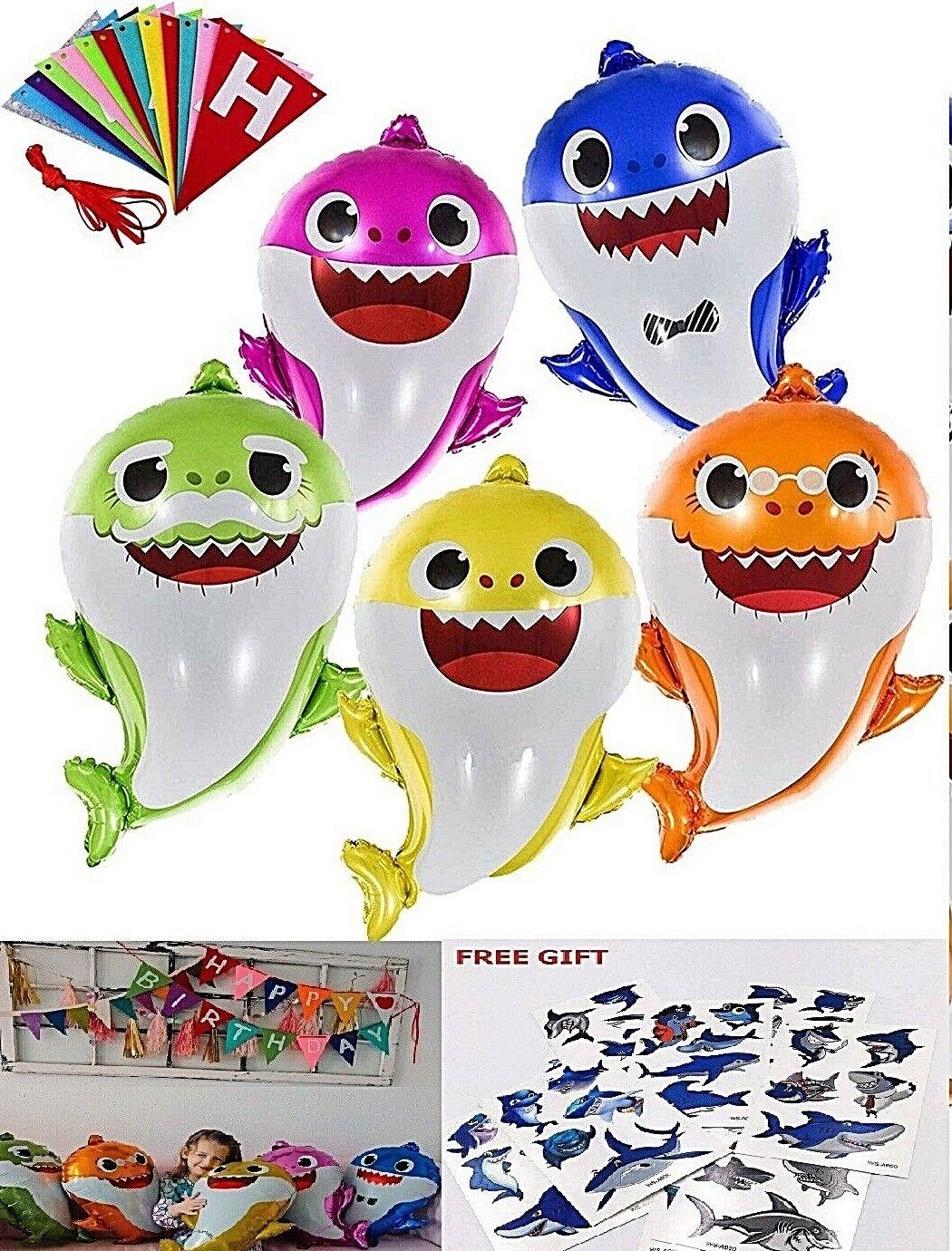Baby Shark Balloons 26″ Happy Birthday Banner Party Decorations Free Tattoos NIB Balloons