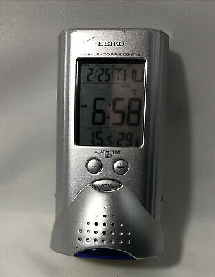Seiko Global Radio Wave Control Alarm Clock Flashlight QHR017 SLH