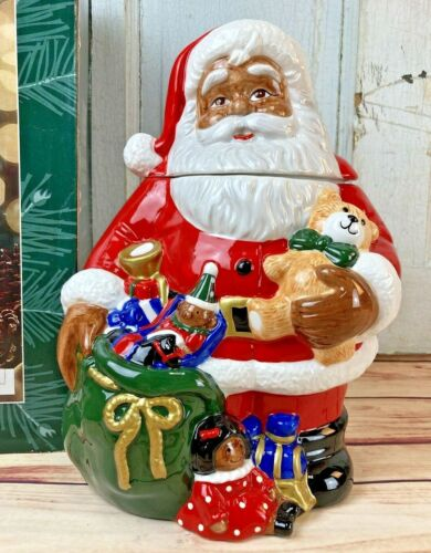 BLACK SANTA COOKIE JAR - HARD TO FIND w box!