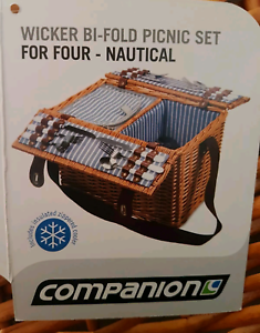 Brand new cane wicker picnic basket set for four people
