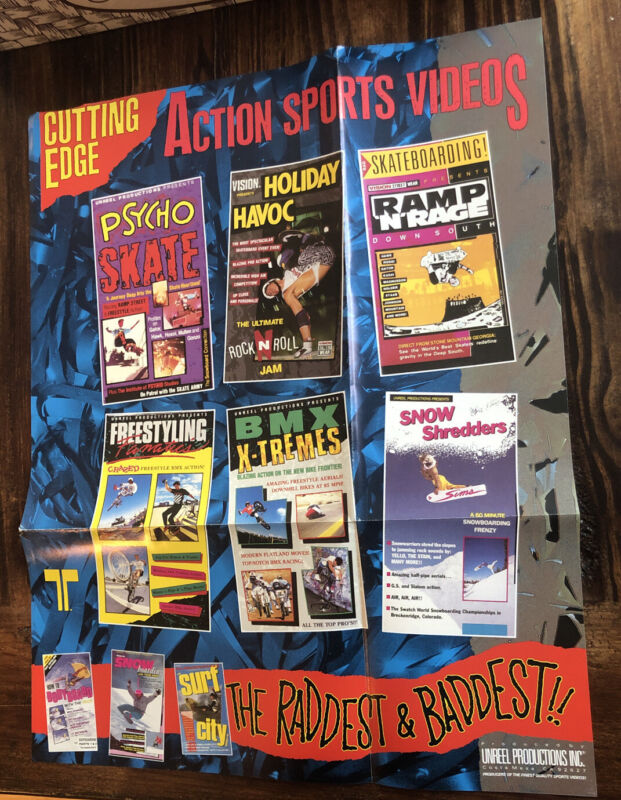 Rare Vintage Skateboard BMX Snowboard Surf Poster VHS Ad Rad Unreel Vision