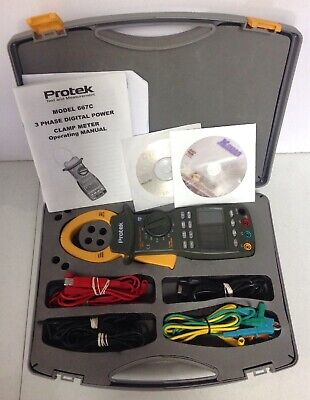 Protek Model 667c Three 3 Phase Digital Rms Power Clamp Meter W Case True Rms