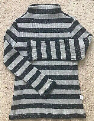 IL GUFO Grey Navy With Lurex Turtle Neck Kids Girls Sweater Sz 5 Made in Italy