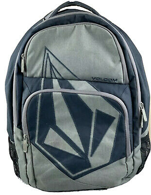 Volcom Stone Deluxe Backpack Skateboard Travel Bag Black/Grey Embroidered Logo