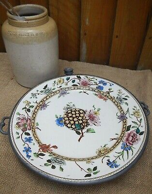 ANTIQUE CHINA & PEWTER WARMING PLATE~LOVELY AESTHETIC MOVEMENT FLORAL DECORATION
