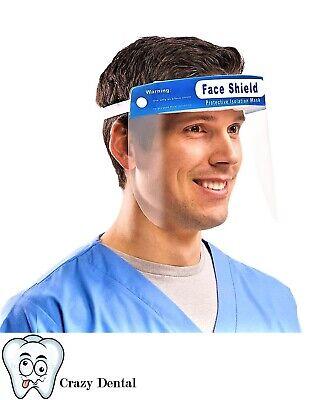 Crosstex Safety Full Face Shield Clear Flip-up Visor Glasses Eye Protect