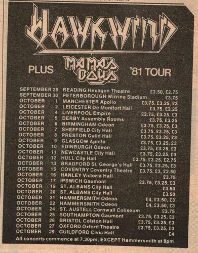 HAWKWIND rare original 1981 UK CONCERT TOUR Print Ad, MAMA