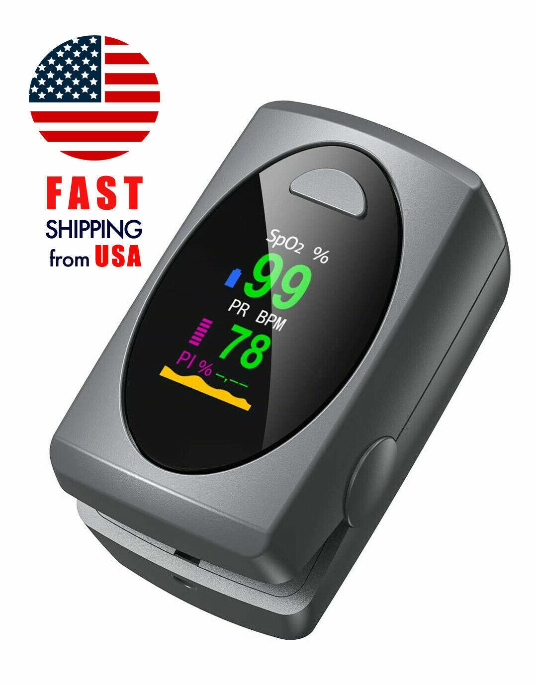 OLED Finger Pulse Oximeter Blood Oxygen Meter SpO2 PR PI FDA