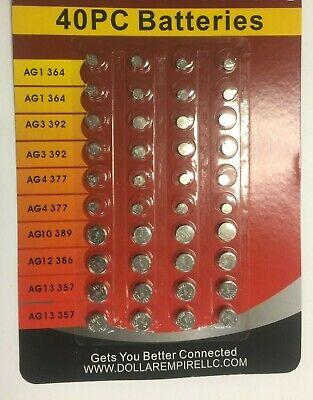 Pack of 40 pcs Assorted Button Batteries Set Watches Calculators Light etc