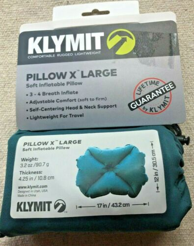 Klymit X Large Soft Inflatable Pillow Lightweight Travel Hiking Camping New Tags