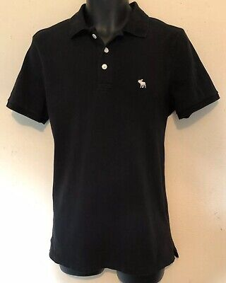 Abercrombie & Fitch Bradley Pond Moose Polo Shirt Size Small Black 3 Button