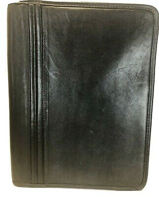 Design A Day America Black Fine Leather Portfolio Zip Around 12.5 X 9.5