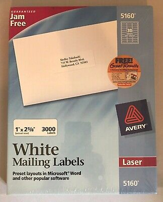 Avery 5160 Easy Peel Mailing Address Labels Laser 1 X 2 58 White 3000box