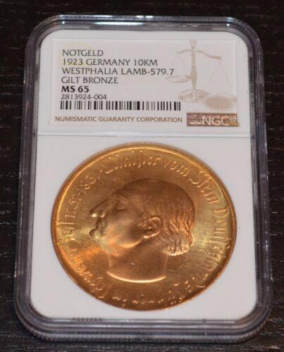 1923 Westphalia Germany Notgeld 10K Mark Bronze Coin NGC MS 65 LAMB-579.7